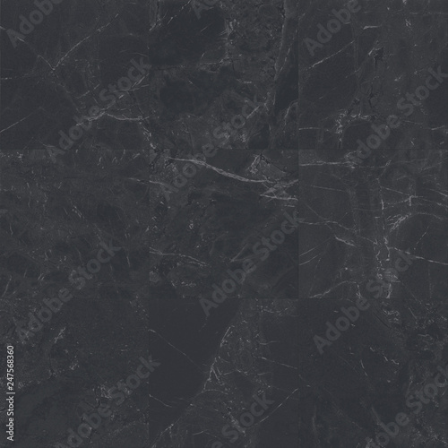 Fotografering  Big black square marble tiles with natural pattern texture background