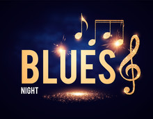Blues Night Shining Element With Golden Notes.