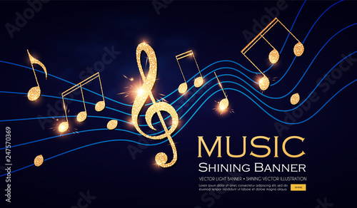 Music Notes and Treble Clef on Swirling tave. Elegant Gold Design Elemant. - 247570369