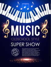 Music Event Toster Template With Piano Keyboard, Notes And Treble Clef.