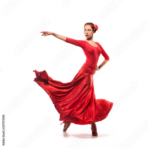Fotografie, Obraz  woman dancer wearing red dress