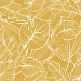 Bezszwowy kwiecisty wzór z tropikalnymi liśćmi. Rysowanie linii. Ilustracja rysowane ręcznie. - 247571770