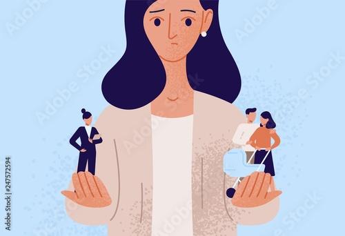 Fotografía  Woman choosing between family or parent responsibilities and career or professional success
