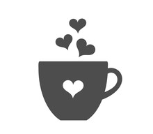 Coffee Cup With Hearts Icon.