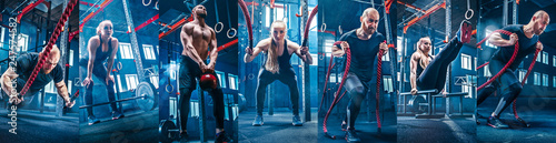 Valokuva  Collage about man with battle rope and woman in the fitness gym