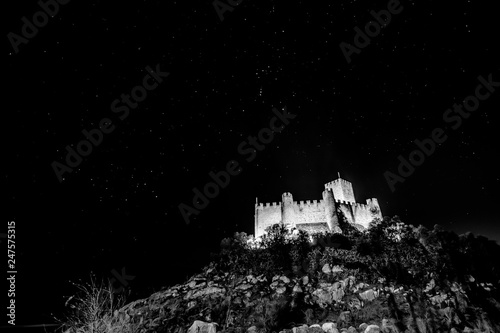 Valokuva  Almourol Castle by night BW, Portugal III