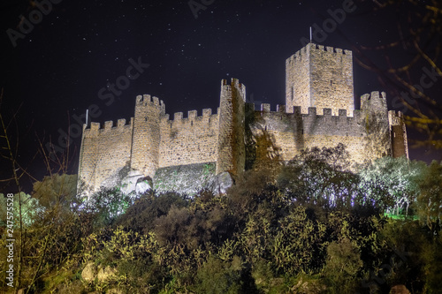 Almourol Castle by night, Portugal Billede på lærred