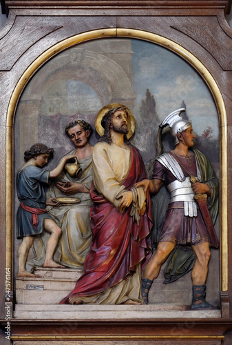 1st Stations of the Cross, Jesus is condemned to death, Basilica of the Sacred H Fototapeta