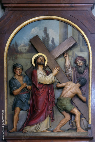 Photo 2nd Stations of the Cross, Jesus is given his cross, Basilica of the Sacred Hear