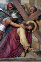 3rd Stations Of The Cross, Jesus Falls The First Time, Basilica Of The Sacred Heart Of Jesus In Zagreb, Croatia