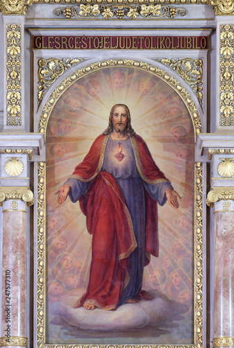 Foto Sacred Heart of Jesus, altarpiece in Basilica of the Sacred Heart of Jesus in Za