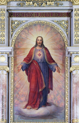Canvas Print Sacred Heart of Jesus, altarpiece in Basilica of the Sacred Heart of Jesus in Za