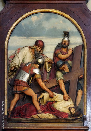 Photo 9th Stations of the Cross, Jesus falls the third time, Basilica of the Sacred He