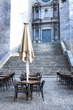 Emty Street Cafe Against Catheral In Girona, Spain