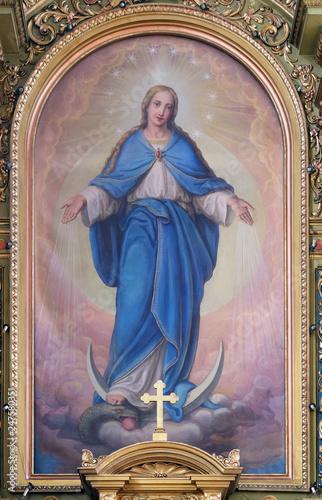 Billede på lærred Our Lady, altarpiece in the Basilica of the Sacred Heart of Jesus in Zagreb, Cro