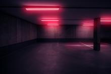 Dark Underground Car Parking Deck With Neon Red Light  -