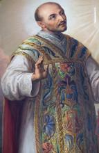 Saint Ignatius Of Loyola, Altarpiece In The Basilica Of The Sacred Heart Of Jesus In Zagreb, Croatia