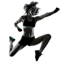 One Caucasian Woman Exercising...