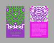 Aztec colorful hand-drawn ornamental card template. American indian leaflet design. Tribal decorative pattern. Ethnic ornate background. Vintage style flyer. EPS 10 vector brochure set.