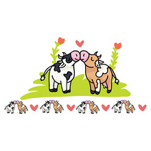 Cute Cow Love Cartoon Vector I...