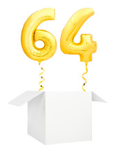 Golden Number Sixty Four Inflatable Balloon With Golden Ribbon Flying Out Of Blank White Box Isolated On White Background. Birthday Concept.