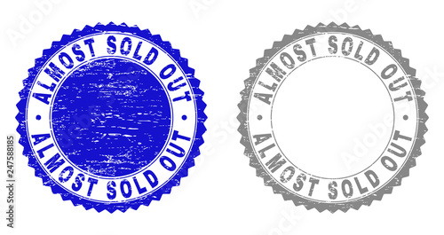 Fotografie, Obraz  Grunge ALMOST SOLD OUT stamp seals isolated on a white background