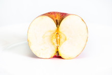 Half Cut Red Apple Fruit On Plate On White