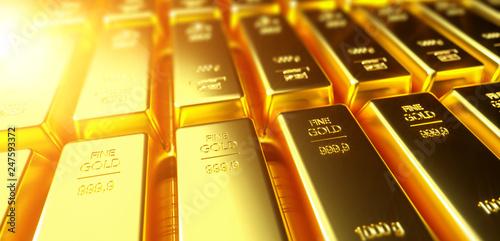 Fotografie, Obraz  Gold bar close up shot. wealth business success concept