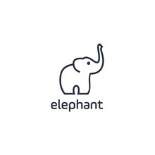 Negative Space Zoo, Abstract Elephant Vector Logo Design. Creative Linear Animal Logotype For Illustration