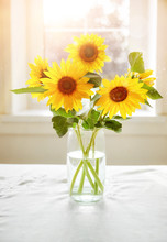 Bouquet Sunflowers On Sunny Wi...