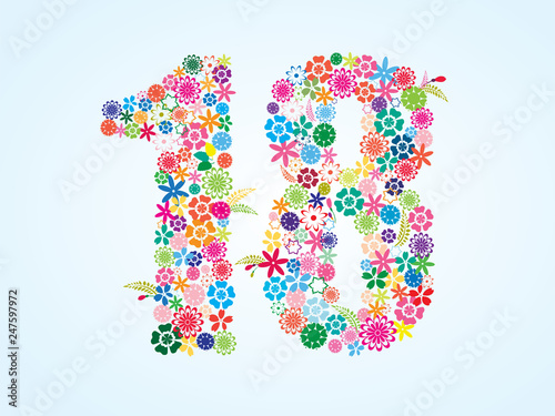 Photographie  Vector Colorful Floral 18 Number Design isolated on white background