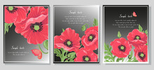 Red Poppy Flowers. Cards On A ...