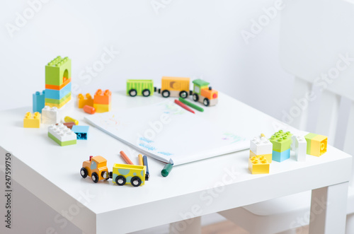 White Table In The Bright Children S Room With Pencils Toy