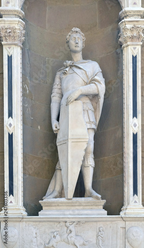 Saint George by Donatello, Orsanmichele Church in Florence, Tuscany, Italy Canvas Print