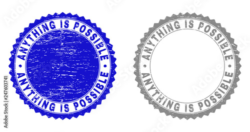 Valokuvatapetti Grunge ANYTHING IS POSSIBLE stamp seals isolated on a white background