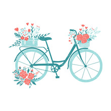 Hand Drawn Bicycle, Romantic B...