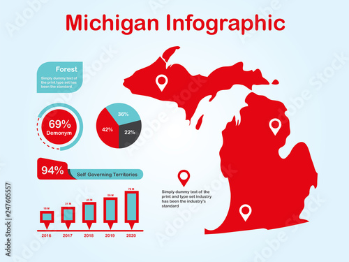Michigan State Usa Map With Set Of Infographic Elements In Red