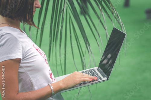 Woman Online Shopping Concept Freelancer Woman In The Green