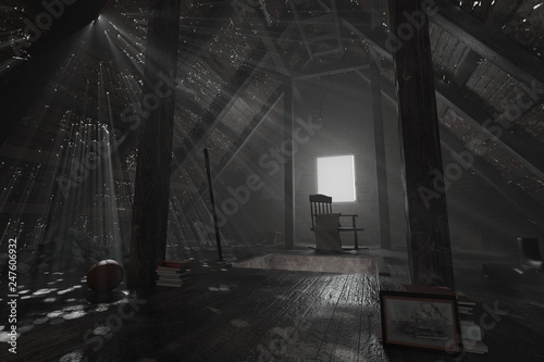 Fotografie, Obraz  3d rendering of darken empty attic with aged stuff and light rays through holes