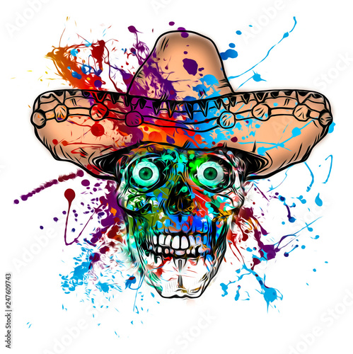 Colored skull with opened mouth and cowboy hat isolated on white background