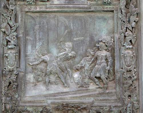 Flagellation of Jesus Christ, panel from Giambologna's school, right portal pane Fototapet