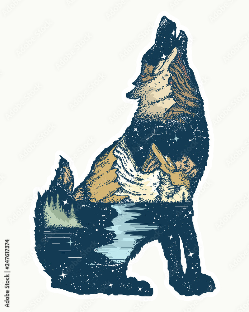 Fototapety, obrazy: Wolf double exposure. Tattoo and t-shirt design. Symbol tourism, travel, adventure, outdoor