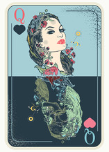 Queen Playing Card. Tattoo And T-shirt Design. Gothic Symbol Of Gamblings, Tarot Cards, Success And Defeat, Casino, Poker