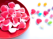Jelly Candy In A Dish Isolated On White Background.