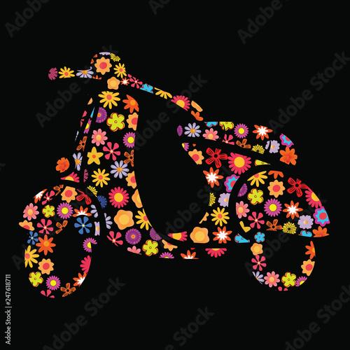 Fotografia, Obraz  Motor Scooter Flower Pattern
