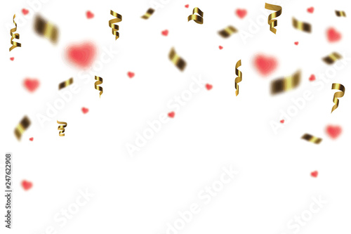 Fotobehang Macrofotografie Blank banner with color and confetti isolated on white background. Vector festive background.