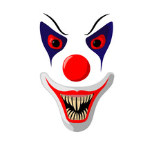 Vector Illustration Scary Clown Mask With Bloody Eyes And Big Fangs On A White Background
