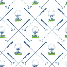 Seamless Golf Pattern With Putter And Ball. Vector Set Of Hand-drawn Sports Equipment. Illustration In Sketch Style On White Background.