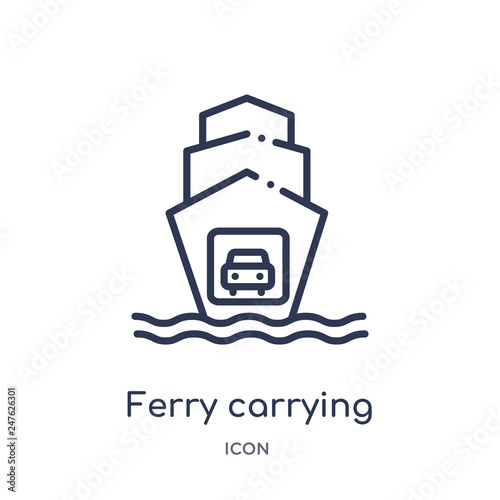 Carta da parati ferry carrying cars icon from transport outline collection