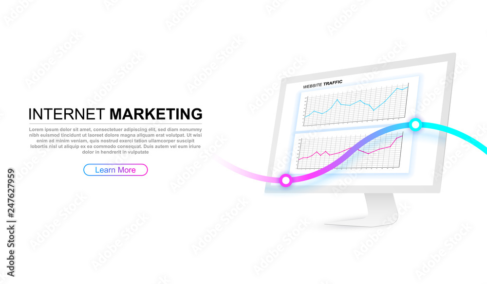 Photo  White computer screen with website traffic charts